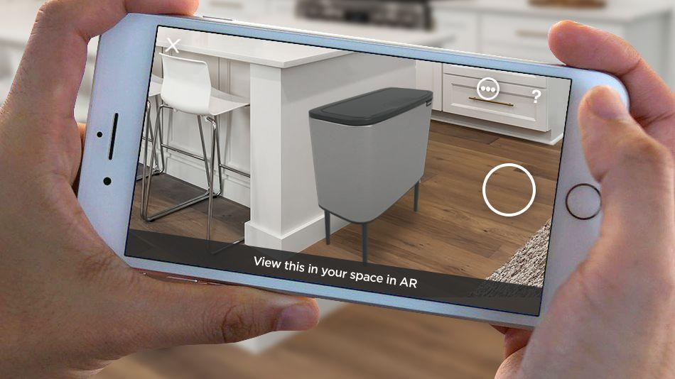 Virtually 'place' the Bo Touch Bin in your home using an iPhone.