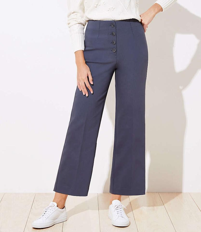 """<p>Replace your worn-out trousers with these cute <a href=""""https://www.popsugar.com/buy/Loft-Button-Front-High-Waist-Wide-Leg-Ankle-Pants-538174?p_name=Loft%20Button%20Front%20High%20Waist%20Wide%20Leg%20Ankle%20Pants&retailer=loft.com&pid=538174&price=75&evar1=fab%3Aus&evar9=47085485&evar98=https%3A%2F%2Fwww.popsugar.com%2Fphoto-gallery%2F47085485%2Fimage%2F47085490%2FLoft-Button-Front-High-Waist-Wide-Leg-Ankle-Pants&list1=shopping%2Cpants%2Cworkwear%2Cfashion%20shopping&prop13=api&pdata=1"""" rel=""""nofollow"""" data-shoppable-link=""""1"""" target=""""_blank"""" class=""""ga-track"""" data-ga-category=""""Related"""" data-ga-label=""""https://www.loft.com/button-front-high-waist-wide-leg-ankle-pants/520781?selectedColor=8870"""" data-ga-action=""""In-Line Links"""">Loft Button Front High Waist Wide Leg Ankle Pants</a> ($75).</p>"""