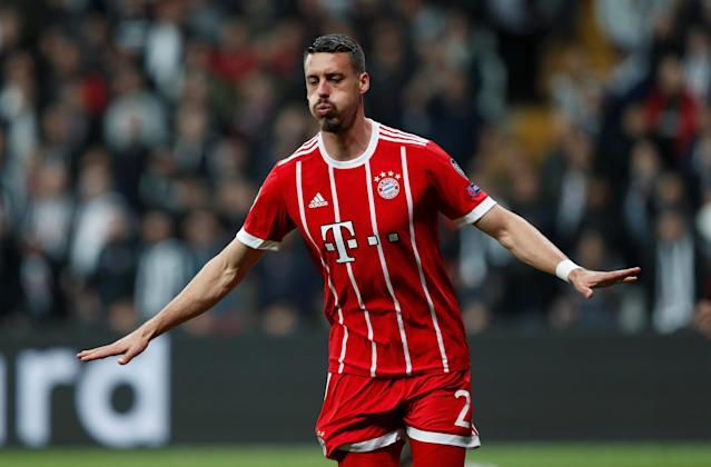 Soccer Football - Champions League Round of 16 Second Leg - Besiktas vs Bayern Munich - Vodafone Arena, Istanbul, Turkey - March 14, 2018 Bayern Munich's Sandro Wagner celebrates scoring their third goal REUTERS/Murad Sezer