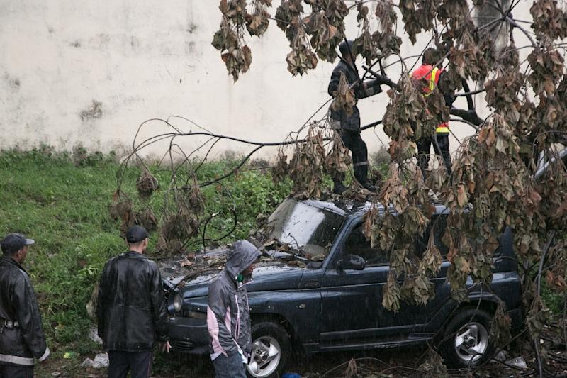 Malagasy firefighters work to remove a fallen tree from a car caused by tropical cyclone Enawo in Antananarivo, Madagascar, on March 8, 2017