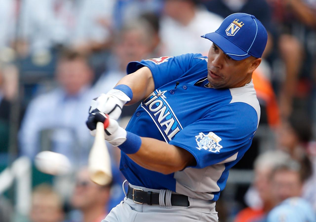 KANSAS CITY, MO - JULY 09:  National League All-Star Carlos Beltran #3 of the St. Louis Cardinals at bat in the first round during the State Farm Home Run Derby at Kauffman Stadium on July 9, 2012 in Kansas City, Missouri.  (Photo by Jamie Squire/Getty Images)