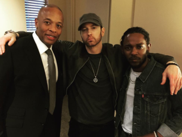 Eminem has rapped lyrics expressing his heterosexuality, seen here with Dr Dre and Kendrick Lemar. Source: Instagram/Eminem