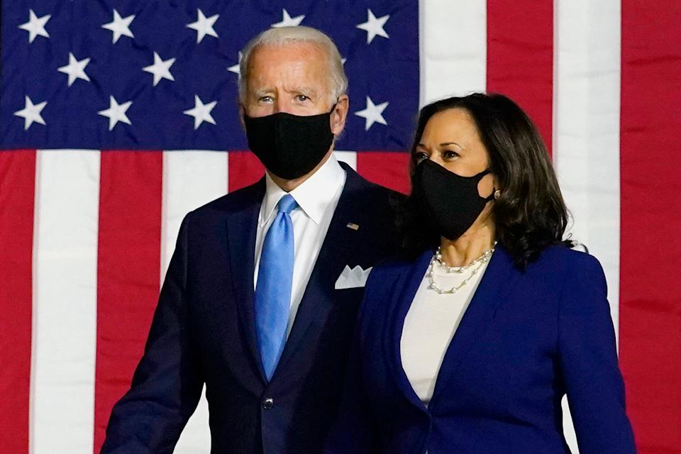 Presumptive Democratic presidential candidate Joe Biden and his running mate Sen. Kamala Harris appear together on Aug. 12 for the first time as a joint ticket in Wilmington, Delaware. (Photo: CAROLYN KASTER/ASSOCIATED PRESS)