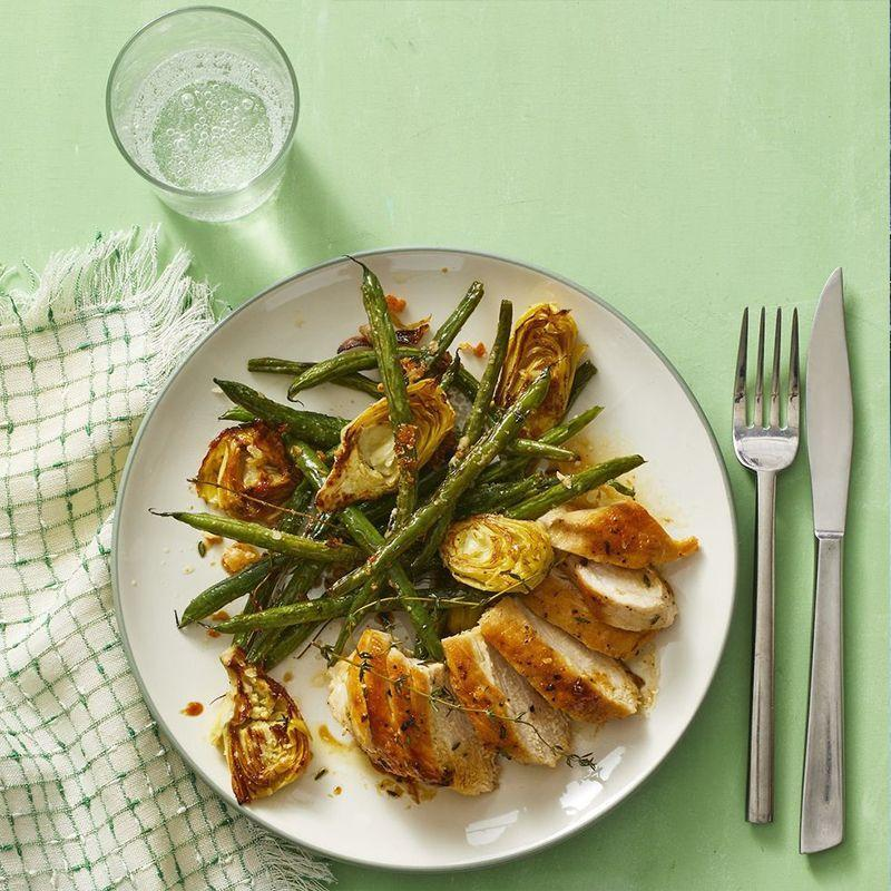 """<p>Put some citrus into dinner with this lemon-thyme chicken. Packed with protein and paired with sautéed veggies, this meal seals the deal. </p><p><em><a href=""""https://www.womansday.com/food-recipes/a32303951/lemon-thyme-chicken-recipe/"""" rel=""""nofollow noopener"""" target=""""_blank"""" data-ylk=""""slk:Get the Lemon-Thyme Chicken recipe."""" class=""""link rapid-noclick-resp"""">Get the Lemon-Thyme Chicken recipe.</a> </em></p>"""