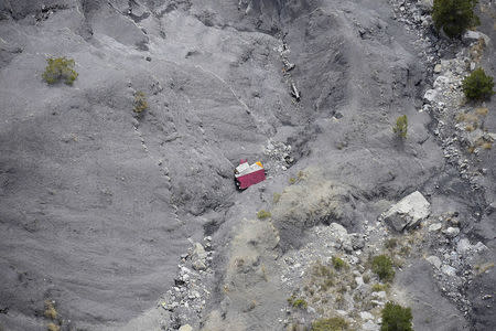 An aerial photo taken from a helicopter shows the crash site of the Germanwings Airbus A320 near Seyne-les-Alpes