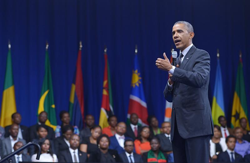 """US President Barack Obama speaks during a """"town hall"""" meeting at the Summit of the Washington Fellowship for the Young African Leaders Initiative in Washington, DC on July 28, 2014"""