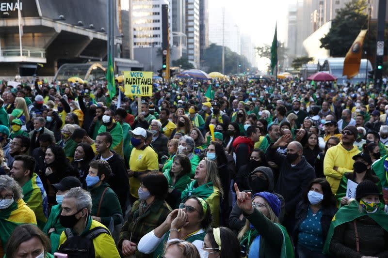 Supporters of Brazilian President Jair Bolsonaro take part in a protest calling for a printed vote, in Paulista Avenue, Sao Paulo
