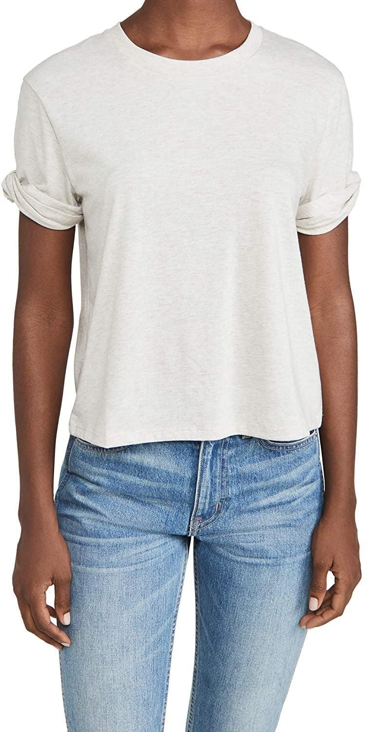 <p>There's no need to worry about a slouched sleeve drooping as this heather-grey <span>Theory Women's Box Tee</span> ($51) already comes with perfectly rolled ones.</p>