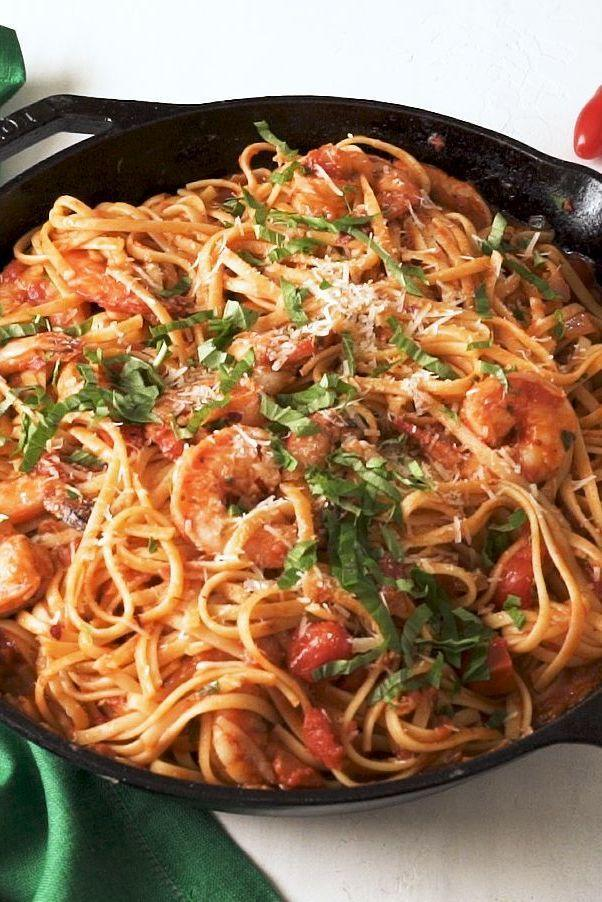 """<p>The sauce and prawns come together in no time making this a classic <a href=""""https://www.delish.com/uk/cooking/recipes/g33432952/best-pasta-recipes/"""" rel=""""nofollow noopener"""" target=""""_blank"""" data-ylk=""""slk:pasta dish"""" class=""""link rapid-noclick-resp"""">pasta dish </a>staple easy enough for a weeknight, but good enough to serve to guests! </p><p>Get the <a href=""""https://www.delish.com/uk/cooking/recipes/a34187929/shrimp-fra-diavolo-recipe/"""" rel=""""nofollow noopener"""" target=""""_blank"""" data-ylk=""""slk:Prawn Fra Diavolo"""" class=""""link rapid-noclick-resp"""">Prawn Fra Diavolo</a> recipe.</p>"""