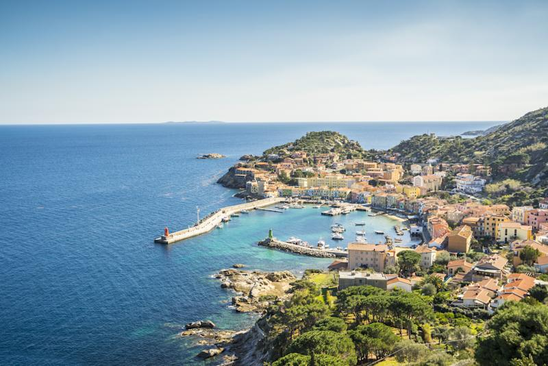 Pictured is a birds eye photo of the coast of Giglio island. Source: Getty