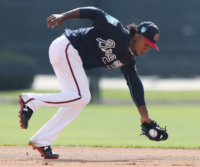 The ceiling is sky-high for Atlanta second baseman Ozzie Albies (Curtis Compton/Atlanta Journal-Constitution via AP)