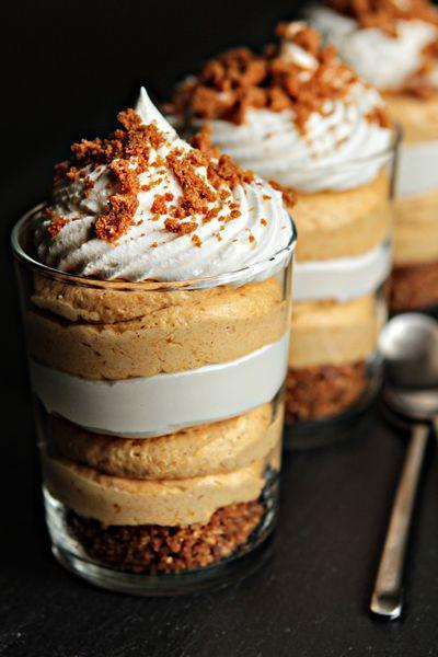 """<p>Instead of a pie crust, crush Biscoff cookies into a crunchy base for your spiced pumpkin puree. Then, layer on whipped cream cheese and repeat these steps for an effortless finale to a holiday feast. </p><p><strong>Get the recipe at <a href=""""http://www.mybakingaddiction.com/pumpkin-cheesecake-trifles/"""" rel=""""nofollow noopener"""" target=""""_blank"""" data-ylk=""""slk:My Baking Addiction"""" class=""""link rapid-noclick-resp"""">My Baking Addiction</a>.</strong> </p>"""
