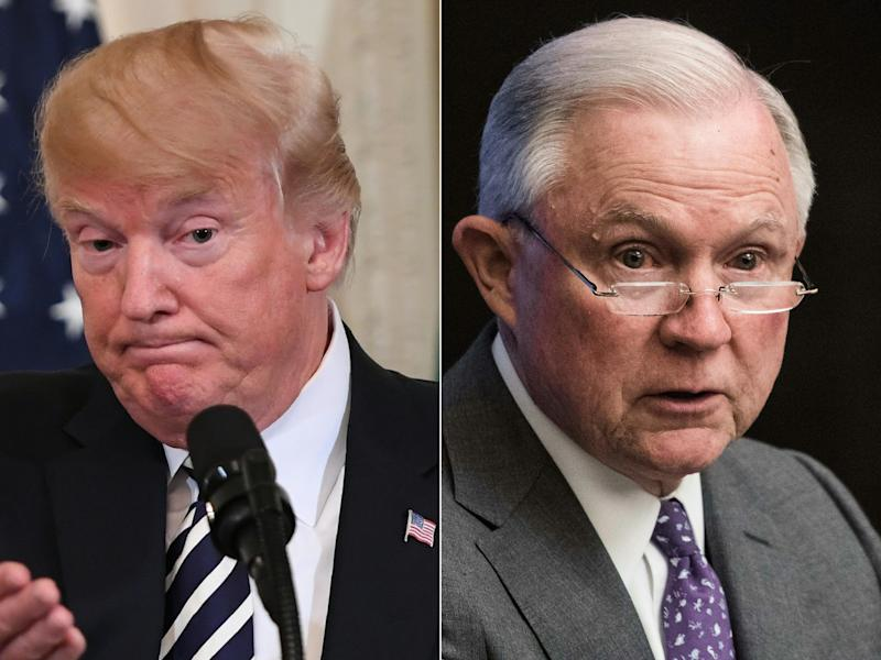 President Donald Trump has kept up a steady barrage of complaints against Attorney General Jeff Sessions. (SAUL LOEB, Nicholas Kamm/AFP/Getty Images)