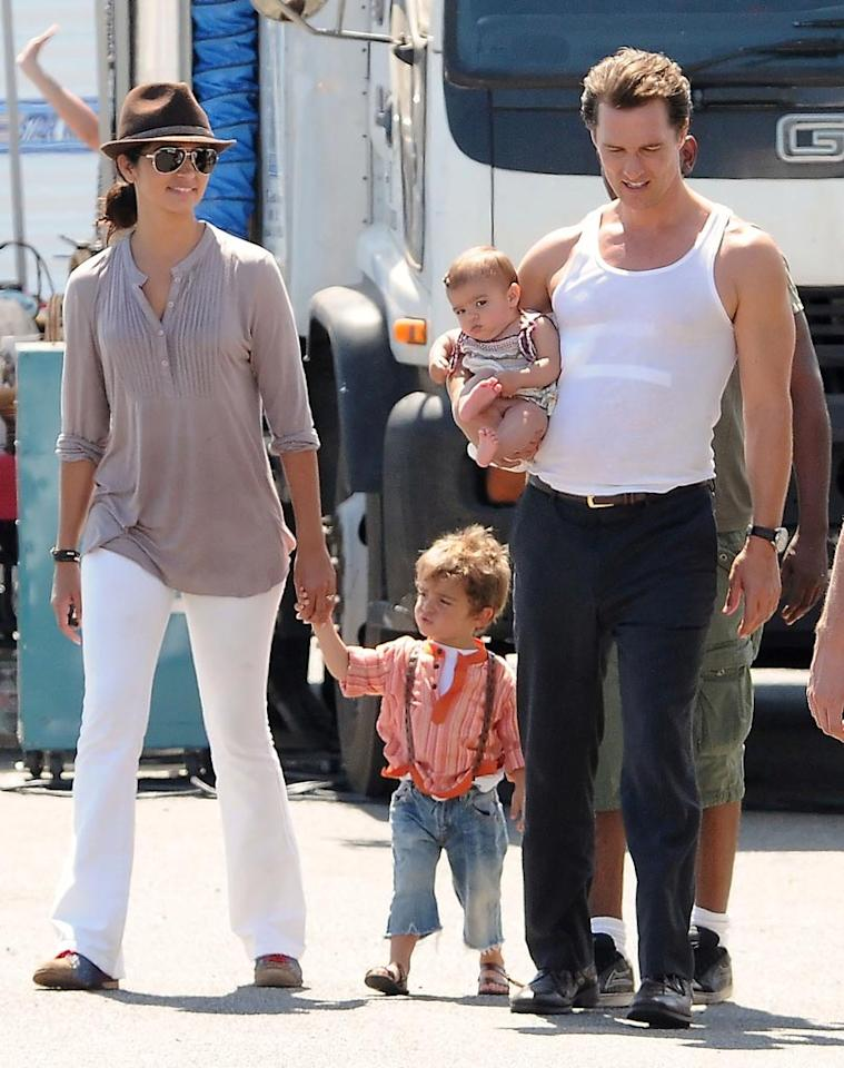 """Matthew McConaughey's partner Camila Alves and their two little ones visited the actor on the LA set of his upcoming movie, """"The Lincoln Lawyer,"""" Tuesday. Johnstone/Beef/<a href=""""http://www.splashnewsonline.com"""" target=""""new"""">Splash News</a> - August 17, 2010"""
