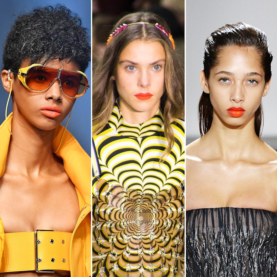 <p>This striking hue may seem destined for summer nights in Miami, but you can pull it off a lot sooner than that (and without purchasing a plane ticket). Versus, Mary Katrantzou, and Jason Wu paired electric orange lips with bronzed skin and lots of lashes.</p>