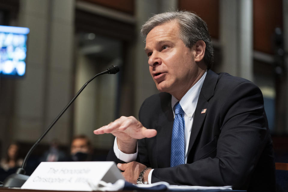 FBI Director Christopher Wray testifies before the House Judiciary Committee oversight hearing on the Federal Bureau of Investigation on Capitol Hill, Thursday, June 10, 2021, in Washington. (AP Photo/Manuel Balce Ceneta)