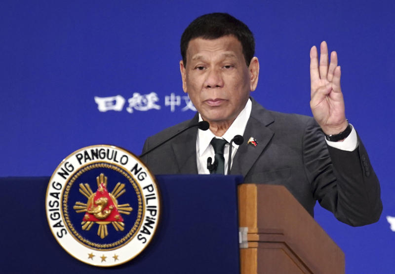"Philippine President Rodrigo Duterte delivers a speech at the special session of the International Conference on ""The Future of Asia"" May 31, 2019, in Tokyo. (AP Photo/Eugene Hoshiko)"