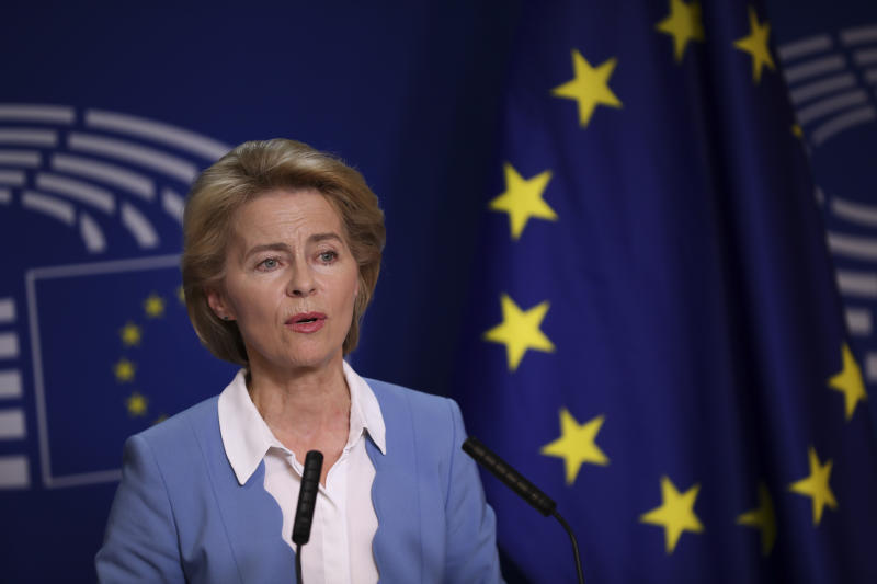 German Defense Minister and candidate for European Commission President Ursula von der Leyen gives a statement next to new elected President of the European Parliament David Sassoli after their meeting at the European Parliament in Brussels, Wednesday, July 10, 2019. European Parliament groups are grilling the German candidate for European Commission president before they take a vote on her appointment next week. (AP Photo/Francisco Seco)