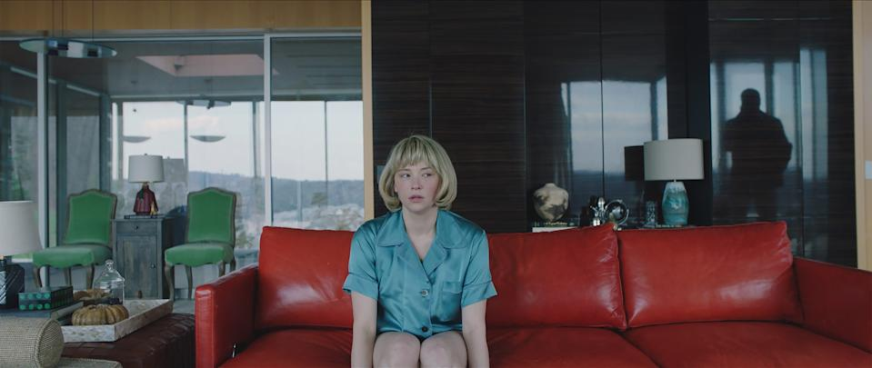"""Haley Bennett stars as a housewife who develops a condition where she eats strange objects like marbles and pins in the psychological thriller """"Swallow."""""""