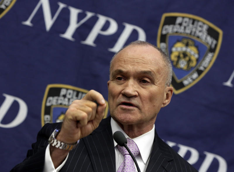 New York City Police Commissioner Raymond Kelly responds to a question about his department's stop-and-frisk policy, during a news conference at police headquarters, in New York, Friday, Nov. 1, 2013. The 2nd U.S. Circuit Court of Appeals said Thursday that the ruling by U.S. District Judge Shira A. Scheindlin would be on hold pending the outcome of an appeal by the administration of Mayor Michael Bloomberg, who has touted the tactic as a major reason crime rates have continued to fall in the city. (AP Photo/Richard Drew)