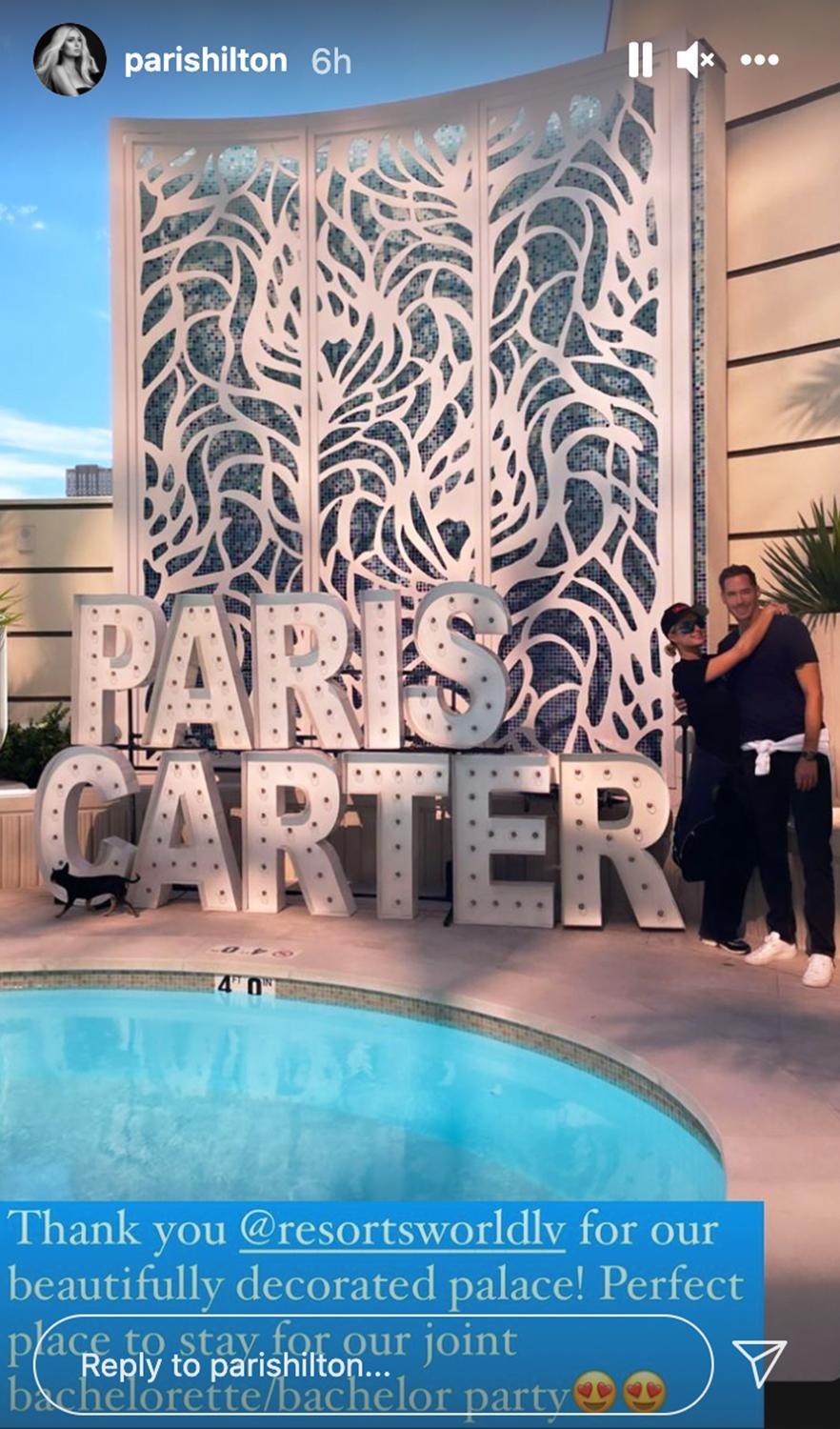 """<p>The couple spent their last days as single people partying in Las Vegas with close friends and family. <a href=""""https://people.com/tv/paris-hilton-carter-reum-las-vegas-joint-bachelor-bachelorette-party/"""" rel=""""nofollow noopener"""" target=""""_blank"""" data-ylk=""""slk:The joint festivities"""" class=""""link rapid-noclick-resp"""">The joint festivities</a> began on Oct. 8, once they landed their private plane in Sin City and were picked up by a red Rolls Royce and a fleet of town cars. They later made their way to the immersive party experience Area 15, where Hilton zip-lined; then the group danced the night away at Zouk Nightclub.</p> <p>Guests, including sister Nicky Hilton, received personalized goodies, including a custom can of rosé with Paris' photo and a tote bag embroidered with the words """"Paris & Carter That's Hot.""""</p> <p>Paris and Reum's wedding will be """"a three-day affair,"""" <a href=""""https://people.com/tv/paris-hilton-wedding-affair-not-a-bridezilla-fallon/"""" rel=""""nofollow noopener"""" target=""""_blank"""" data-ylk=""""slk:the Simple Life star revealed"""" class=""""link rapid-noclick-resp"""">the <em>Simple Life</em> star revealed</a> on <em>The Tonight Show</em>, with <a href=""""https://people.com/tv/paris-hilton-wedding-affair-not-a-bridezilla-fallon/"""" rel=""""nofollow noopener"""" target=""""_blank"""" data-ylk=""""slk:&quot;probably 10&quot; outfit changes"""" class=""""link rapid-noclick-resp"""">""""probably 10"""" outfit changes</a>. It'll also be filmed for a Peacock docuseries called <a href=""""https://people.com/tv/engaged-paris-hilton-wants-fans-to-see-that-she-finally-got-her-fairytale-ending-in-new-reality-show/"""" rel=""""nofollow noopener"""" target=""""_blank"""" data-ylk=""""slk:Paris in Love"""" class=""""link rapid-noclick-resp""""><em>Paris in Love</em></a>.</p>"""