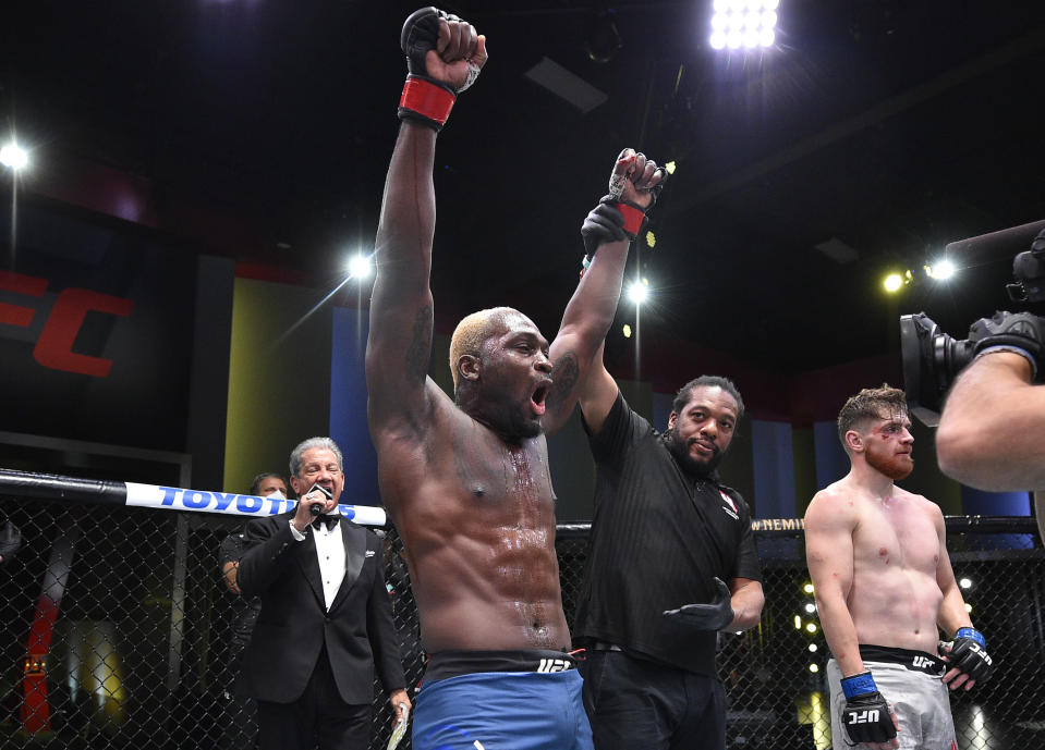 LAS VEGAS, NEVADA - AUGUST 01: Derek Brunson celebrates after his TKO victory over Edmen Shahbazyan in their middleweight fight during the UFC Fight Night event at UFC APEX on August 01, 2020 in Las Vegas, Nevada. (Photo by Chris Unger/Zuffa LLC via Getty Images)