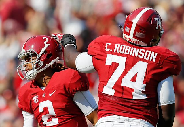 A big, athletic tackle such as Bama's Cam Robinson might be just what the Broncos are seeking. (Getty Images)