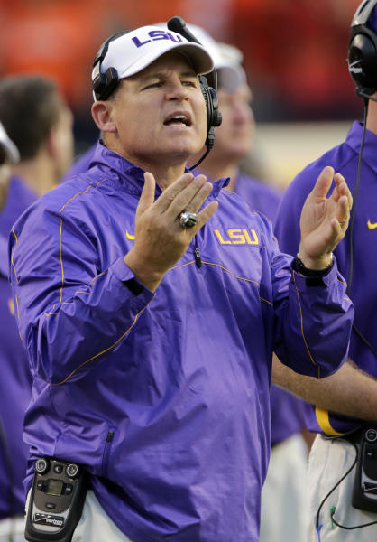 LSU coach Les Miles questions a call in the first half of an NCAA college football game against Auburn on Saturday, Sept. 22, 2012 at Jordan-Hare Stadium in Auburn, Ala. (AP Photo/Dave Martin)