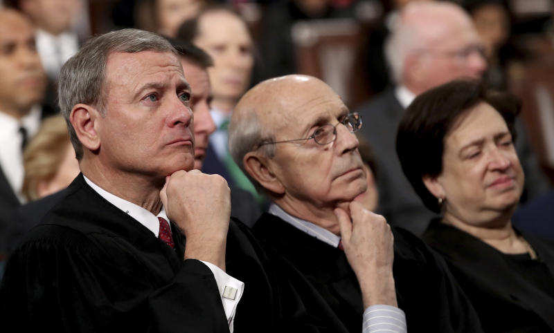 Supreme Court Chief Justice John Roberts, left, Associate Justice Stephen Breyer and Associate Justice Elena Kagan listens as President Donald Trump delivers his first State of the Union address on Jan. 30, 2018. (Win McNamee/pool via Associated Press)
