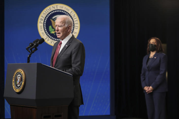 President Joe Biden delivers remarks on the administration's response to the military coup in Myanmar, at the South Court Auditorium at the Eisenhower Executive Office Building in Washington, Wednesday, Feb. 10, 2021, as Vice President Kamala Harris looks on. (Oliver Contreras/The New York Times)