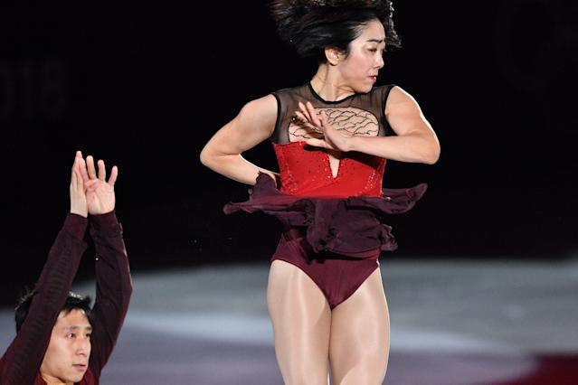 <p>China's Sui Wenjing and China's Han Cong perform during the figure skating gala event during the Pyeongchang 2018 Winter Olympic Games at the Gangneung Oval in Gangneung on February 25, 2018. / AFP PHOTO / Mladen ANTONOV (Photo credit should read MLADEN ANTONOV/AFP/Getty Images) </p>