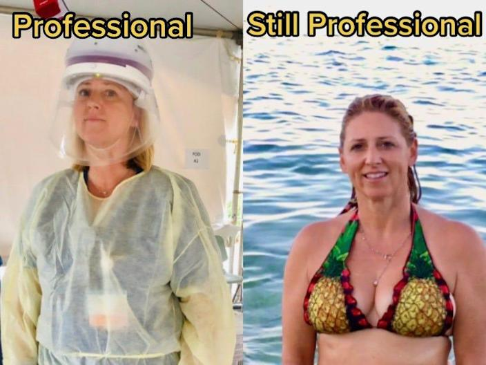 "Myhre, left, in PPE at her job, and right, wearing a bikini while at her ""happy place,"" the beach."
