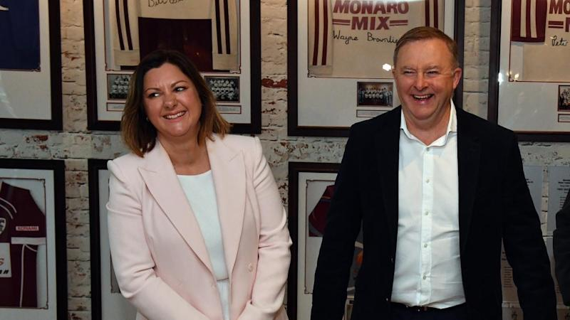 Anthony Albanese has had a dig at the infighting between Nationals and Liberals over Eden-Monaro