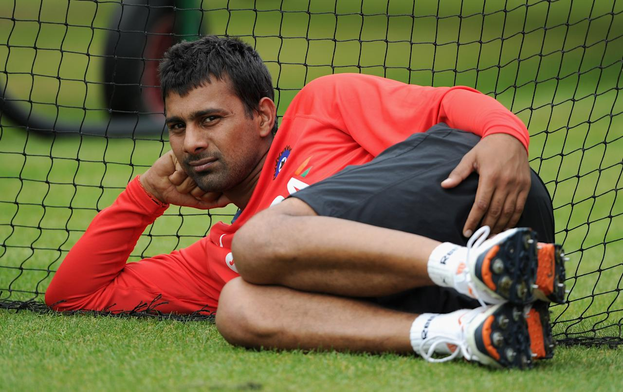 MANCHESTER, ENGLAND - AUGUST 30:  Praveen Kumar of India during a nets session at Old Trafford on August 30, 2011 in Manchester, England.  (Photo by Gareth Copley/Getty Images)
