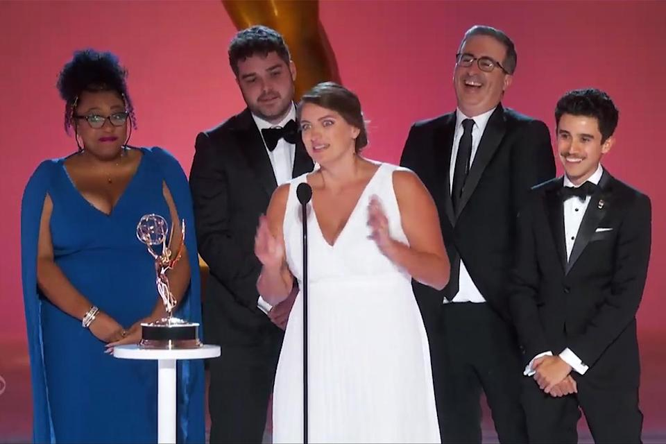 """<p><strong>""""We would like to dedicate this award to Adam Driver. He knows what he did, and he knows what we would like him to do.""""</strong></p> <p>— The <i>Last Week Tonight</i> writers, continuing the show's <a href=""""https://ew.com/tv/adam-driver-john-oliver-last-week-tonight/"""" rel=""""nofollow noopener"""" target=""""_blank"""" data-ylk=""""slk:ongoing bit of sexualizing Adam Driver"""" class=""""link rapid-noclick-resp"""">ongoing bit of sexualizing Adam Driver</a>, while accepting the award for outstanding writing for a variety series </p>"""
