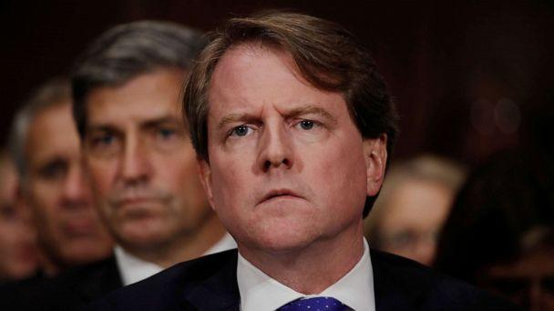 PHOTO: White House counsel Don Mcgahn listens to Judge Brett Kavanaugh testify before the Senate Judiciary Committee during his Supreme Court confirmation hearing in the Dirksen Senate Office Building on Capitol Hill, Sept. 27, 2018, in Washington. (Pool/Getty Images, FILE)