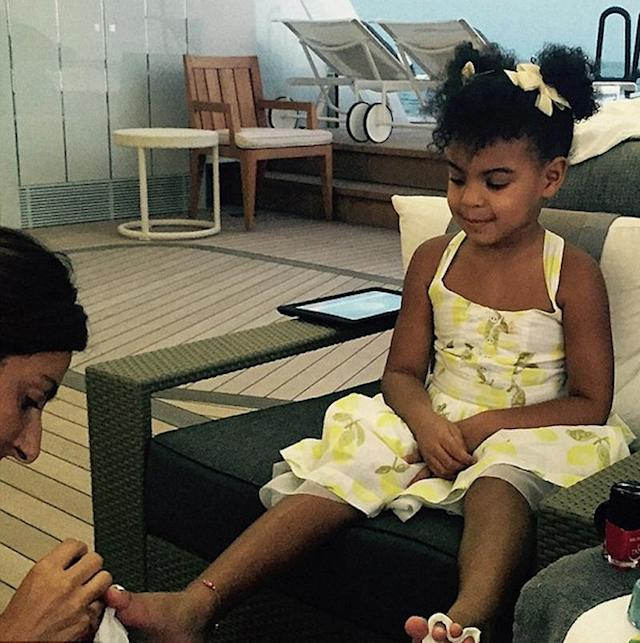 "<p>If North West and <a href=""https://www.yahoo.com/celebrity/tagged/blue-ivy-carter/"" data-ylk=""slk:Blue Ivy Carter"" class=""link rapid-noclick-resp"">Blue Ivy Carter</a> ever have a playdate (<a href=""https://www.yahoo.com/celebrity/the-beyonce-and-mariah-meetup-just-got-better-150354153.html"" data-ylk=""slk:Kanye West's greatest wish;outcm:mb_qualified_link;_E:mb_qualified_link"" class=""link rapid-noclick-resp newsroom-embed-article"">Kanye West's greatest wish</a>!), we know some glamification will be on the schedule. In 2015, <a href=""https://www.yahoo.com/celebrity/tagged/beyonce/"" data-ylk=""slk:Beyoncé"" class=""link rapid-noclick-resp"">Beyoncé</a> posted a photo of her mini-me, back when she was 3, getting a pedi on the deck of their yacht. When you consider that the boat cost a cool $900,000 a week to charter, whatever they paid for the pedicure was pocket change. (Photo: Beyoncé.com) </p>"