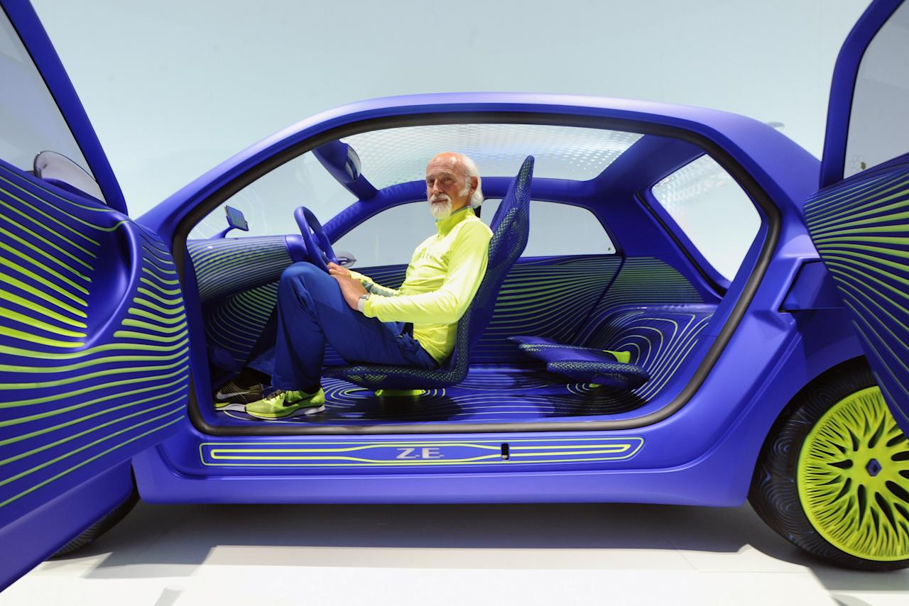 MILAN, ITALY - APRIL 08:  Industrial Designer Ross Lovegrove poses inside a concept car that he has designed for Renault at Triennale di Milano during 2013 Milan Design week on April 8, 2013 in Milan, Italy.  (Photo by Pier Marco Tacca/Getty Images)