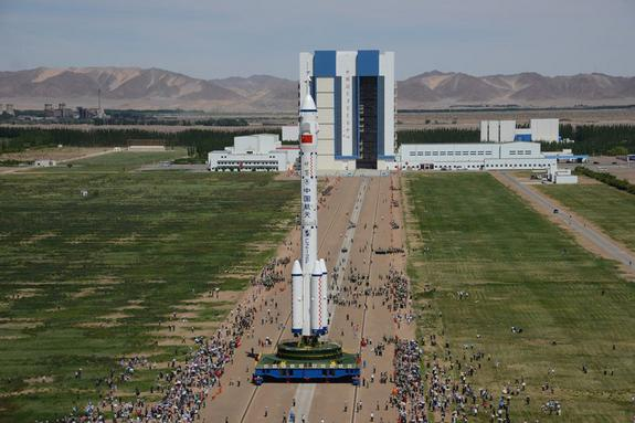 Long March II-F rocket transported to the launch pad. Image released June 11, 2012.