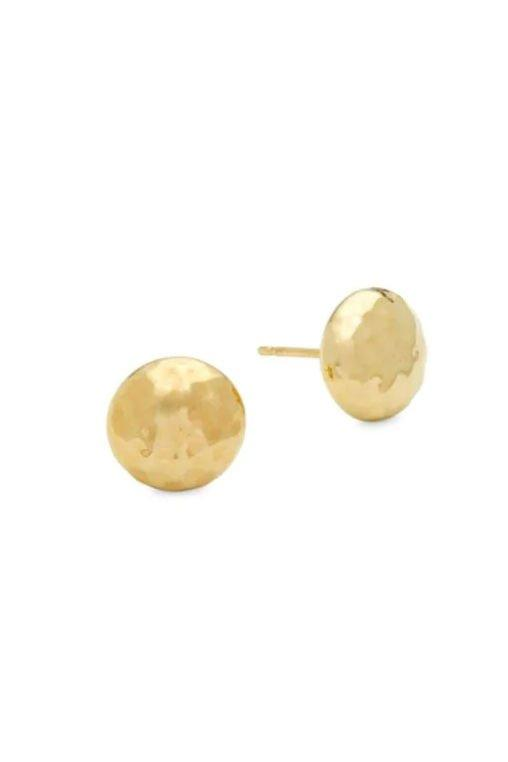 "<p>Gold Hammered Button Studs</p> <p>BUY IT: $115, <a href=""https://click.linksynergy.com/deeplink?id=93xLBvPhAeE&mid=38801&murl=https%3A%2F%2Fwww.saksoff5th.com%2Fsaks-fifth-avenue-carla-yellow-gold-hammered-button-studs%2Fproduct%2F0400097284792&u1=SL%2CRX_1910_ButtonStudEarrings_ClassicJewelry%2Crogersc%2C%2CIMA%2C649680%2C201910%2CI"" target=""_blank"">saksoff5th.com</a></p> <p>Button studs are an earring style that came to popularity in the 1950s. Most often paired with a matching necklace, they can still add a touch of class to many modern styles.</p>"