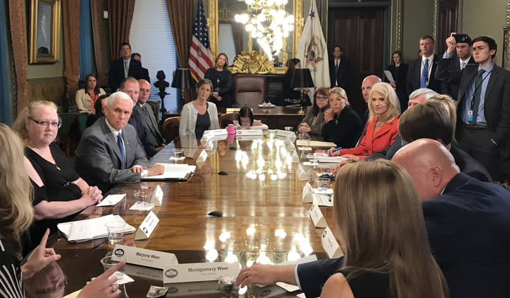 Vice President Mike Pence and counselor to the president Kellyanne Conway take part in a health care listening session. (Photo: Hunter Walker/Yahoo News)