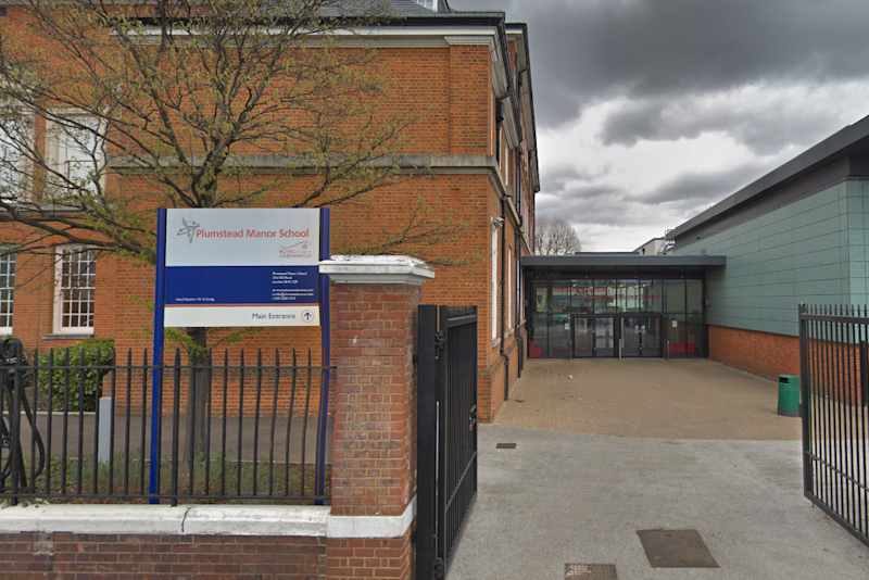 Lockdown: the secondary school was closed off by police following the stabbing nearby: Google