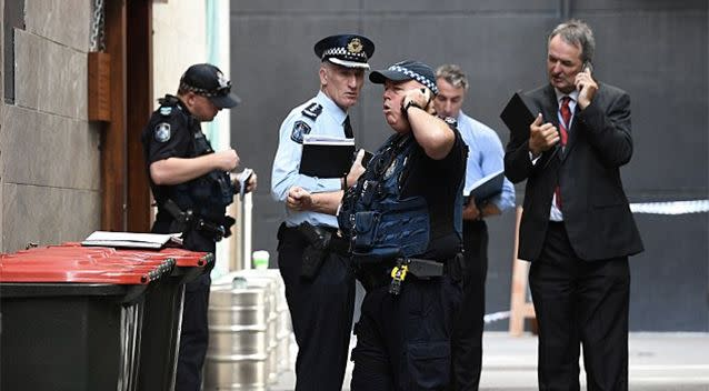 Police attended the scene in Brisbane's CBD after the shot was fired around 2pm. Photo: AAP
