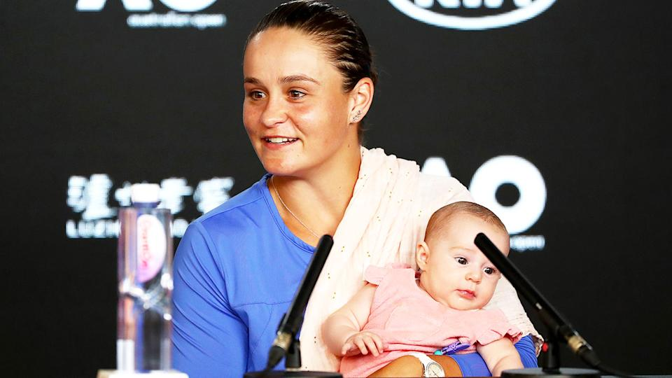 Ash Barty (pictured) at an Australian Open press conference holding her niece.