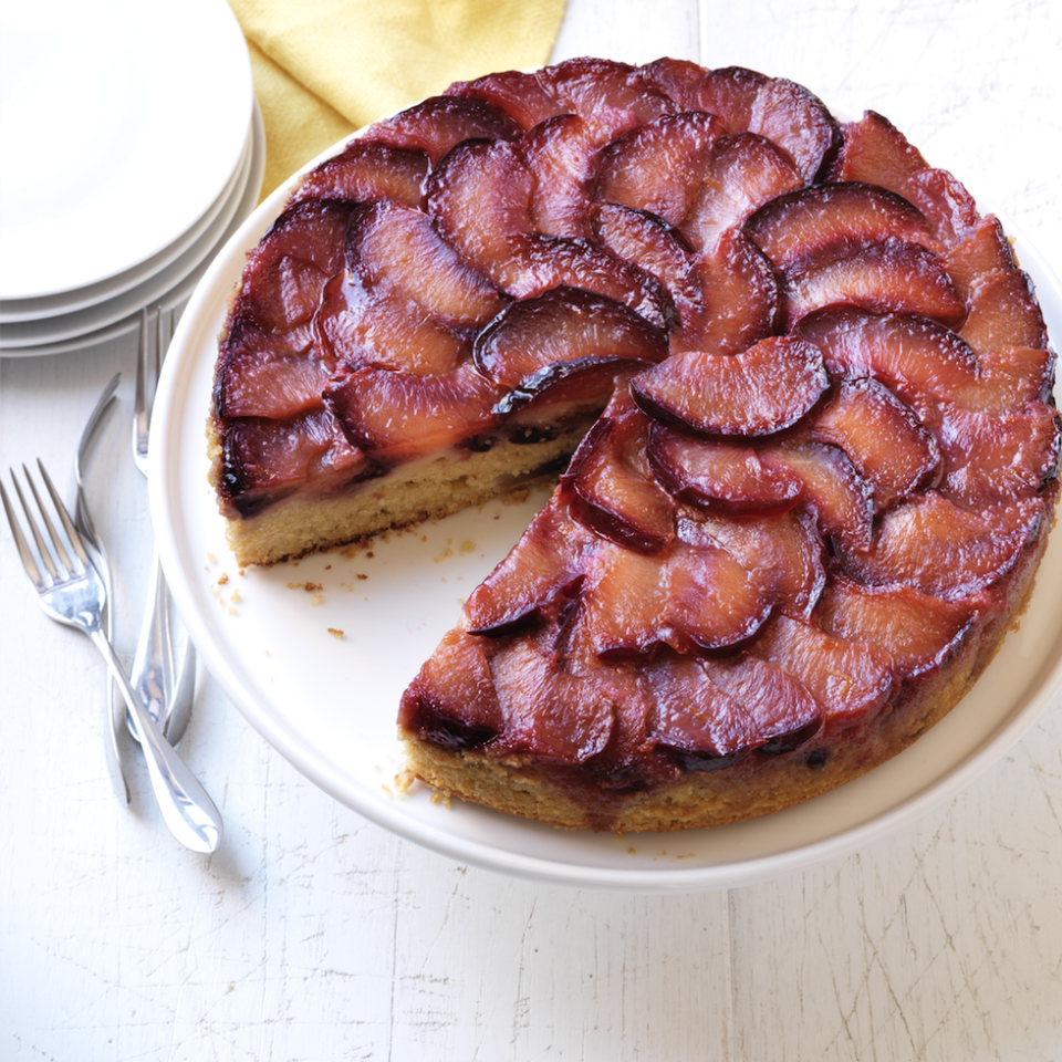 """<p>This sticky-sweet cake is spiked with orange juice for a little tanginess that dad won't be able to resist.</p><p><em><a href=""""https://www.goodhousekeeping.com/food-recipes/a15313/sticky-plum-upside-down-cake-recipe-wdy0813/"""" rel=""""nofollow noopener"""" target=""""_blank"""" data-ylk=""""slk:Get the recipe for Sticky Plum Upside-Down Cake »"""" class=""""link rapid-noclick-resp"""">Get the recipe for Sticky Plum Upside-Down Cake »</a></em></p>"""