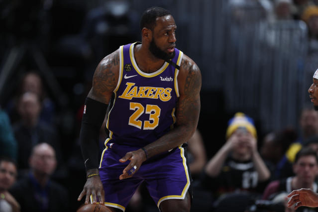 "A youth group in Maryland is suing LeBron James' media group over the phrase ""More Than An Athlete."" (AP/David Zalubowski)"