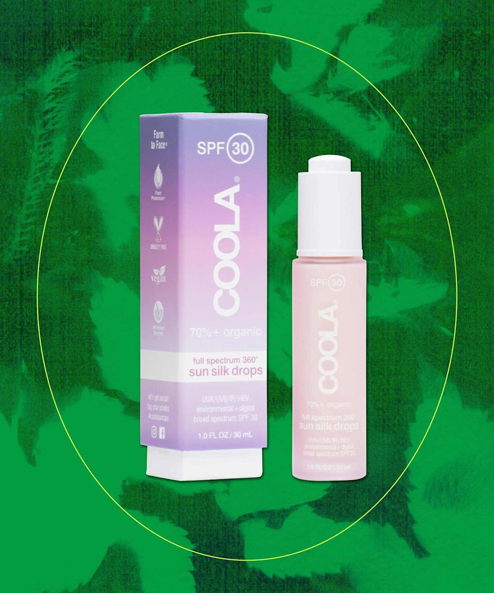 "<strong>Coola Suncare Full Spectrum 360 Sun Silk Drops SPF 30</strong><br><br>How pretty is this sunscreen? This fast-absorbing plant-derived broad-spectrum UVA/UVB SPF 30 sun drops not only protects against harmful rays along with modern-day aggressors (blue light, infrared light), but also promotes radiance with plant stem cells, antioxidants, and hyaluronic acid. <br><br><strong>Sustainability shout-out: </strong>toxic-free product, reef-friendly, cruelty-free, vegan, made in the USA, 70% USDA-certified organic, responsibly packaged, and easily recyclable.<br><br><br><strong>Coola</strong> Suncare Full Spectrum 360 Sun Silk Drops SPF 30, $, available at <a href=""https://go.skimresources.com/?id=30283X879131&url=https%3A%2F%2Fwww.nordstrom.com%2Fs%2Fcoola-suncare-full-spectrum-360-sun-silk-drops-spf-30%2F5244194%3Forigin%3Dkeywordsearch-personalizedsort%26breadcrumb%3DHome%252FAll%2520Results%26color%3D000"" rel=""nofollow noopener"" target=""_blank"" data-ylk=""slk:Nordstrom"" class=""link rapid-noclick-resp"">Nordstrom</a>"