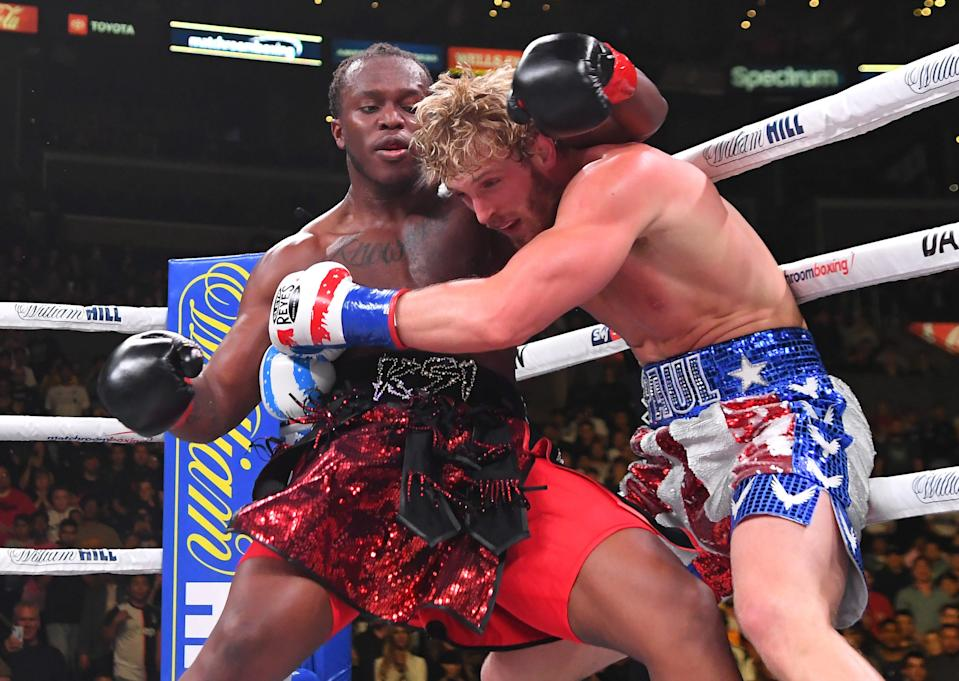 Logan Paul, right, exchanges punches with KSI during their fight in November 2019.