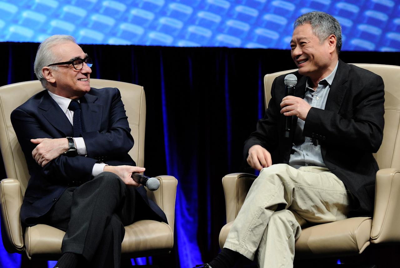 LAS VEGAS, NV - APRIL 25:  Directors Martin Scorsese (L) and Ang Lee speak during a filmmakers forum at Caesars Palace during CinemaCon, the official convention of the National Association of Theatre Owners, on April 25, 2012 in Las Vegas, Nevada.  (Photo by Ethan Miller/Getty Images)