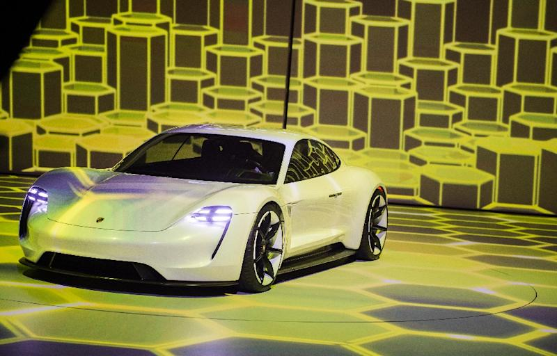 Porsche's flagship Mission E electric sports car is scheduled to hit the roads in late 2019 (AFP Photo/ODD ANDERSEN)